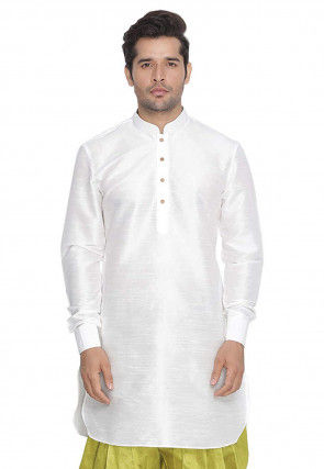 Solid Color Dupion Silk Short Kurta in Off White
