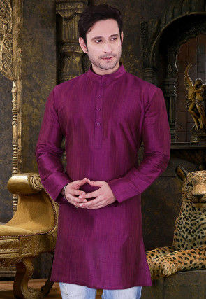 Solid Color Dupion Silk Short Kurta in Purple