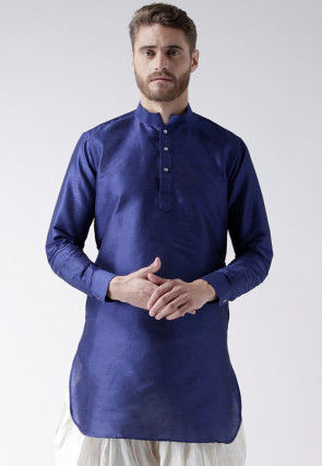 Solid Color Dupion Silk Short Kurta in Royal Blue