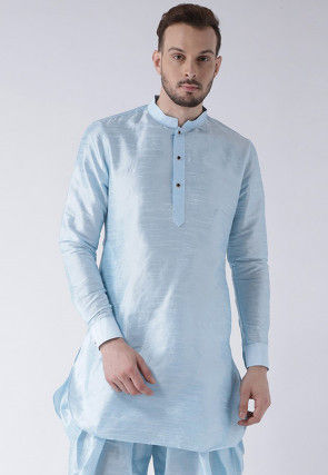 Solid Color Dupion Silk Short Kurta in Sky Blue