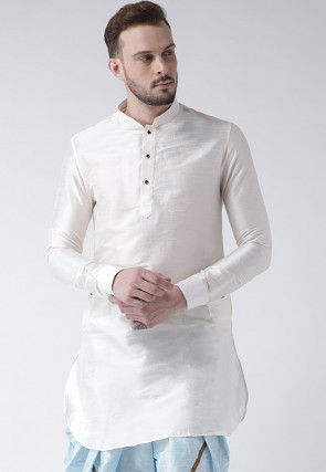 Solid Color Dupion Silk Short Kurta in White