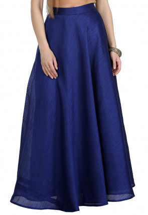 Solid Color Dupion Silk Skirt in Dark Blue