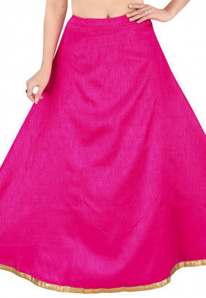Solid Color Dupion Silk Skirt in Fuchsia