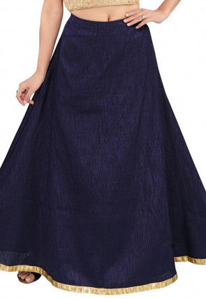 Solid Color Dupion Silk Skirt in Navy Blue