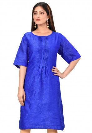 Solid Color Dupion Silk Straight Kurta in Royal Blue