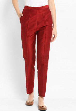 Solid Color Dupion Silk Trousers in Maroon