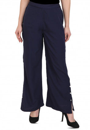 Solid Color Crepe Pant in Navy Blue