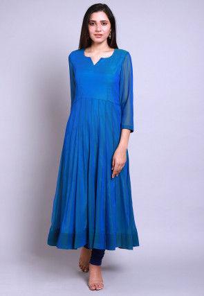 Solid Color Georgette Anarkali Kurta in Blue