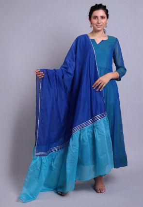 Solid Color Georgette Anarkali Suit in Blue