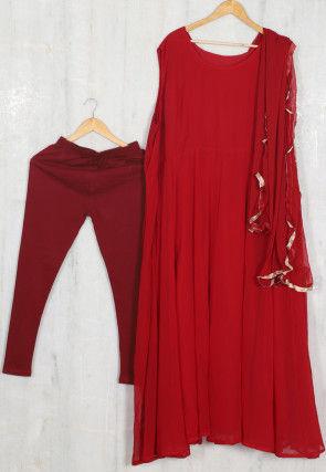 Solid Color Georgette Anarkali Suit in Red