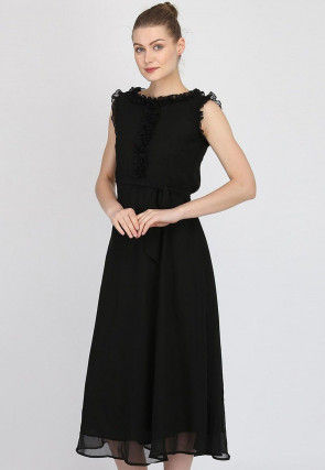 Solid Color Georgette Dress in Black