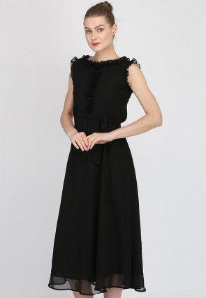 Solid Color Georgette Dress in Black