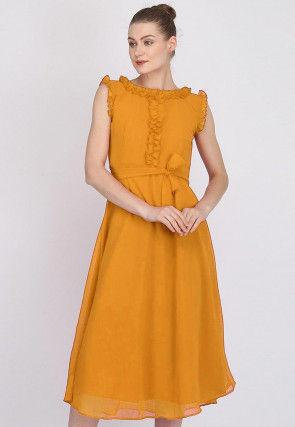 Solid Color Georgette Dress in Mustard