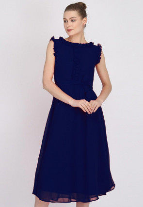 Solid Color Georgette Dress in Navy Blue