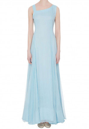 Solid Color Georgette Gown in Sky Blue