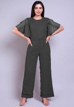 Solid Color Georgette Jumpsuit in Dark Grey