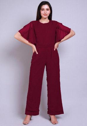 Solid Color Georgette Jumpsuit in Magenta