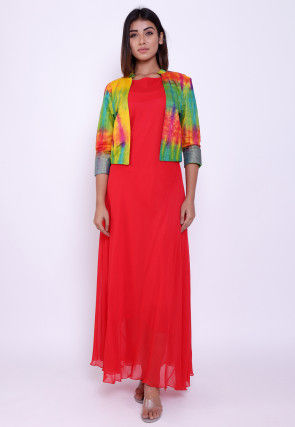 Solid Color Georgette Maxi Dress with Tie Dye Jacket in Red