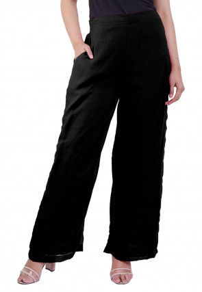 Solid Color Georgette Palazzo in Black