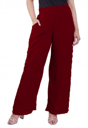 Solid Color Georgette Palazzo in Maroon