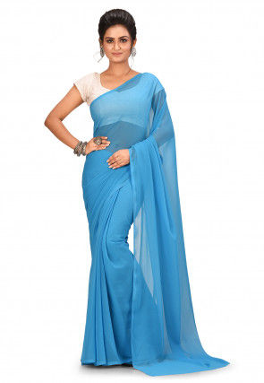 Solid Color Georgette Saree in Light Blue