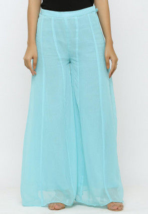 Solid Color Georgette Sharara in Pastel Blue