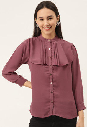 Solid Color Georgette Top in Old Rose