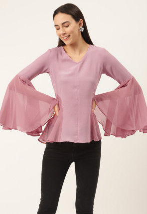 Solid Color Georgette Top in Pink