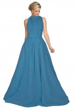 Solid Color Georgette Waist Tie Up Gown in Teal Blue
