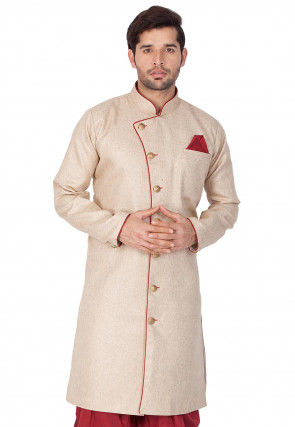 Solid Color Jute Cotton Sherwani in Beige