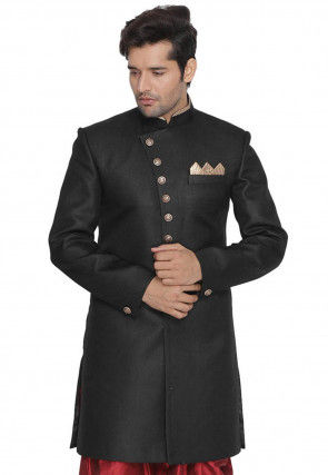 Solid Color Jute Cotton Sherwani in Black