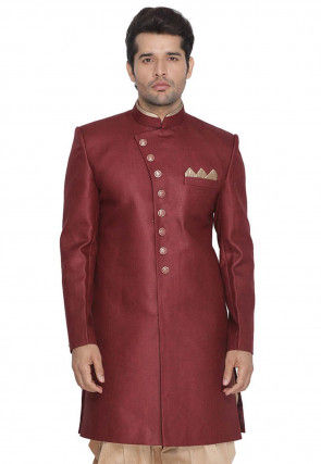 Solid Color Jute Cotton Sherwani in Maroon
