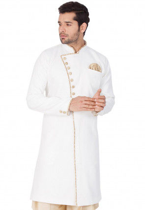 Solid Color Jute Cotton Sherwani in Off White