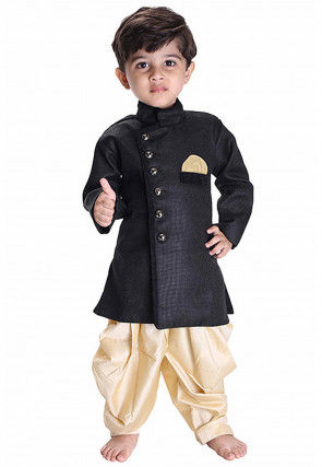 Solid Color Jute Silk Dhoti Sherwani in Black
