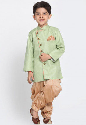 Solid Color Jute Silk Dhoti Sherwani in Light Green
