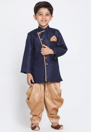 Solid Color Art Silk Dhoti Sherwani in Navy Blue