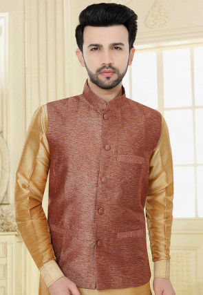 Solid Color Jute Silk Nehru Jacket in Rust