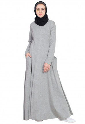 Solid Color Knitted Cotton Flared Abaya in Light Grey