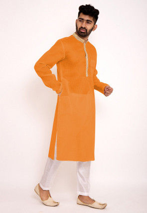 Solid Color Kota Silk Kurta Set in Orange