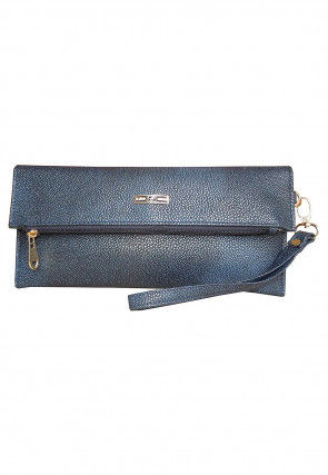 Solid Color Leather Flap Clutch Bag in Blue