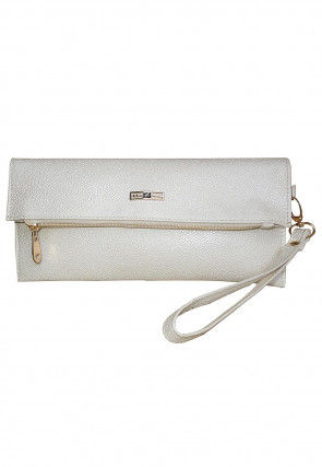 Solid Color Leather Flap Clutch Bag in White