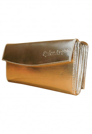 Solid Color Leather Flap Wallet in Golden