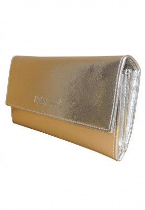 Solid Color Leather Two Fold Wallet in Silver