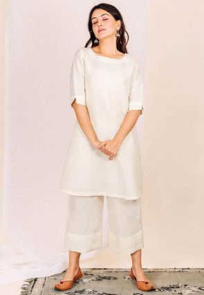 Solid Color Linen A Line Kurta Set in Off White