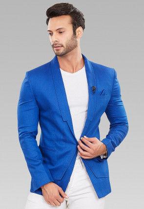 Solid Color Linen Cotton Blazer in Royal Blue