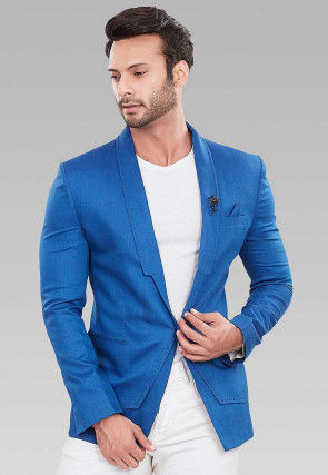 Solid Color Linen Cotton Blazer in Royal Blue