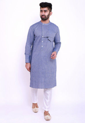 Solid Color Linen Cotton Kurta in Blue