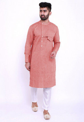 Solid Color Linen Cotton Kurta in Old Rose