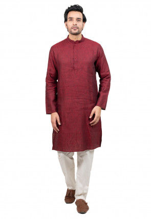 Solid Color Linen Cotton Kurta Set in Maroon