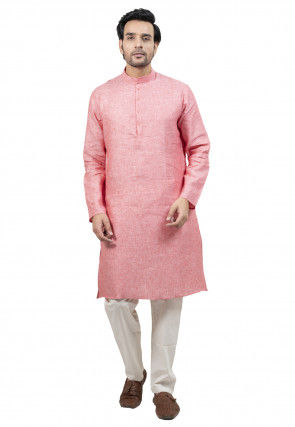 Solid Color Linen Cotton Kurta Set in Pink